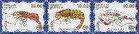 Фауна моря, 1 выпуск, Креветки, синий фон, 3м в сцепке; 10.0 руб х 3