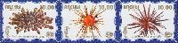 Фауна моря, 3 выпуск, Морские ежи, голубой фон, 3м в сцепке; 10.0 руб х 3