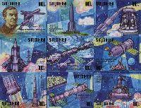 История освоения космоса, 9м беззубцовые; 10.0 руб х 9