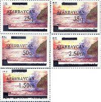 Надпечатки на № 003 (Каспийское море), тип I, 5м; 25, 35, 50q, 1.50, 2.50 M