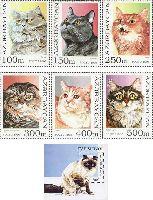 Фауна, кошки; 6м + блок; 100, 150, 250, 300, 400, 400, 500, 800 M
