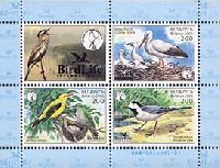 Фауна, Охраняемые птицы, блок из 3м + купон; 200 руб х 3