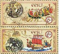 Совместный выпуск Эстония-Украина, Путь из Варягов в Греки, 2м + купон в сцепке; 6.0 Кр x 2