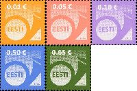Стандарты, Почтовый рожок, самоклейки, 5м; 0.01, 0.05, 0.10, 0.50, 0.65 Евро