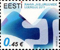 Перепись населения Эстонии, самоклейка, 1м; 0.45 Евро