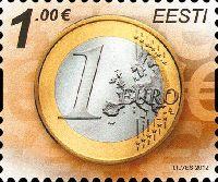 Стандарт, Монета, самоклейка, 1м; 1.0 Евро