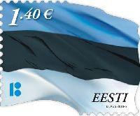 Государственный флаг Эстонии, самоклейка, 1м; 1.40 Евро