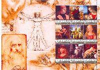 "Personalized stamps, Painting, Leonardo da Vinci, М/S of 9v & 9 labels; ""V"" x 9"