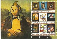 "Personalized stamps, Comics Tintin, М/S of 9v & 9 labels; ""V"" x 9"