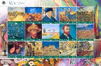 Personalized stamps, Painting, Vincent van Gogh, М/S of 15v; 1.75 L х 15