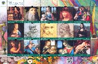 Personalized stamps, Painting, Leonardo da Vinci, М/S of 15v; 1.75 L х 15