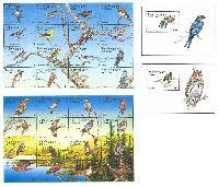 """Фауна, птицы, 2 М/Л из 16м + 2 блока; """"15"""" х 32, """"100"""" х 2"""