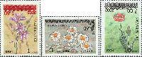 Надпечатки новых номиналов на № 018 (Цветы, 1, 3, 10т), 3м; 1.50, 3.60, 7.0 С