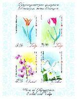 Флора, Тюльпаны и Орхидеи, беззубцовый блок из 4м; 36, 39, 48, 55 С