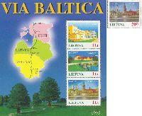 Совместный выпуск Литва-Эстония-Латвия, Балтийский путь, 1м + блок из 3м; 20ц, 1 Лит x 3