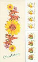 Цветы, Поздравления, самоклейки, буклет из 4 серий