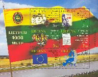 1000-летие Литвы, блок из 6м; 3.0 Литa x 6