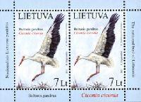 Национальная птица Литвы. Белый аист, М/Л из 2м; 7.0 Литов х 2