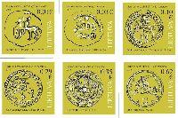 Стандарты, Монеты с символами Литвы, самоклейки, 6м; 0.01, 0.03, 0.10, 0.29, 0.39, 0.62 Евро