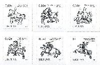Стандарты, Исторический герб Литвы, самоклейки, 6м; 0.03, 0.10, 0.39, 0.42, 0.94, 1.0 Евро