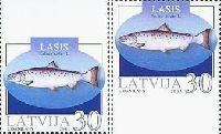 Фауна, Рыбы, трехсторонняя зубцовка, 2м; 30c x 2