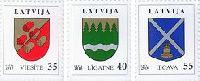 Стандарты, гербы Иецава, Легатне, Виесите, 3м; 35, 40, 55c