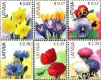 Стандарты, Цветы, 6м; 0.03, 0.47. 0.57, 0.78, 0.85, 1.39 Евро