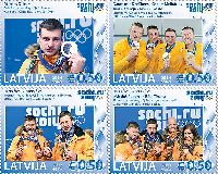 Латвийские спортсмены - призеры Олимпиады в Сочи'14, 4м; 0.50 Евро х 4
