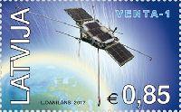 Первый искусственный спутник Латвии, 1м; 0.85 Евро