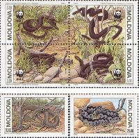 WWF, Змеи, 2м + 4м в квартблоке; 3 руб. x 4, 15, 25 руб