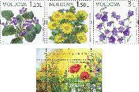 Флора, Полевые цветы, 3м + блок; 1.20, 1.50, 3.0, 4.50 Лей