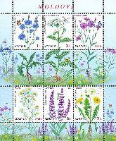 Cтандарты, Полевые цветы, М/Л из 6м и 3 купонов; 0.10, 0.25, 1.0, 2.0, 3.0, 5.0 Лей