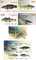 Фауна, Рыбы, 4м + блок + M/Л из 4м; 40, 100, 230, 270 руб x 2, 500 руб