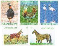 """Definitives, Fauna, Birds, Horses, 5v; """"T"""" х 5"""