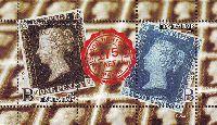"""175 лет первой почтовой марки, блок из 2м; """"В"""" х 2"""