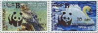 30y of the Reserve Yagorlyk, Silver overprint on # 205 (Birds), 2v; 2,70, 5,25 R