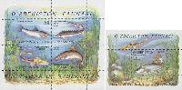 Фауна, Рыбы, M/Л из 4м + блок; 45, 90, 250, 300, 1010 Сум